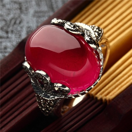 New Hot Sale 925 Sterling Silver Inlaid Gemstone Retro Ring
