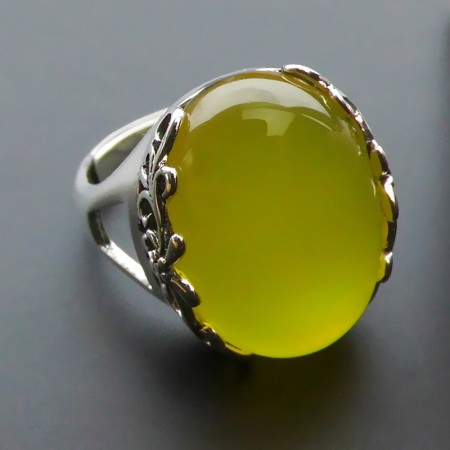 New Retro Pattern 925 Sterling Silver Inlaid Natural Yellow Onyx Opening Ring
