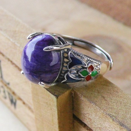 Retro Cloisonne 925 Sterling Silver Inlaid Natural Charoite Gemstone Opening Ring