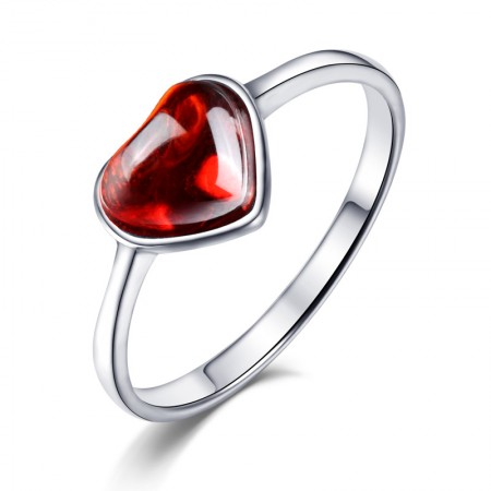 Simple And Compact Sterling Silver Inlaid Heart-Shaped Gem Ring