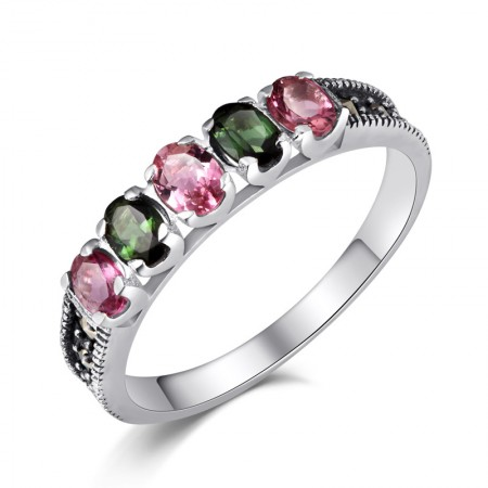 Beautiful Ethnic Style 925 Sterling Silver Inlaid Natural Tourmaline Ring
