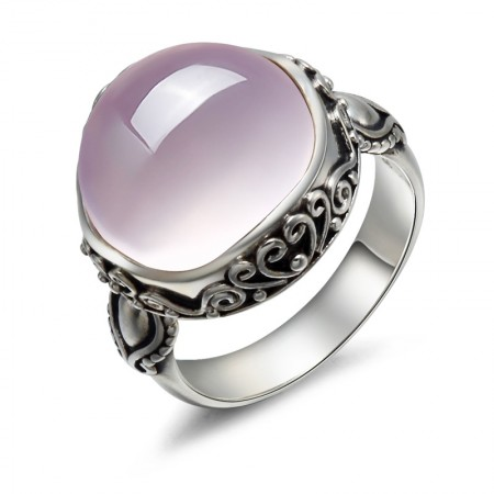 Retro Luxury 925 Sterling Silver Inlaid Natural Pink Crystal Ring