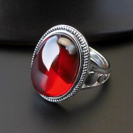 Retro Simple Beads Edge S925 Silver Inlaid Garnet Adjustable Ring