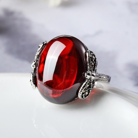 Original Dragonfly Modeling 925 Sterling Silver Inlaid Garnet Woman'S Ring