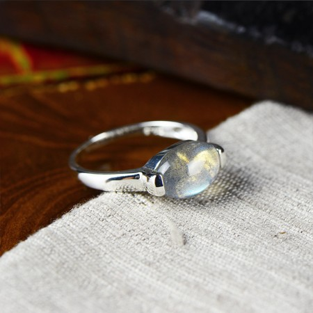 925 Sterling Silver Inlaid Natural Moonstone Simple Ring