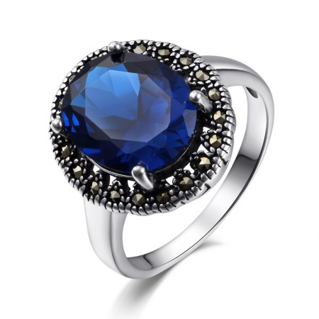 Stylish Atmosphere 925 Sterling Silver Inlaid Four Claw Gemstone Ring