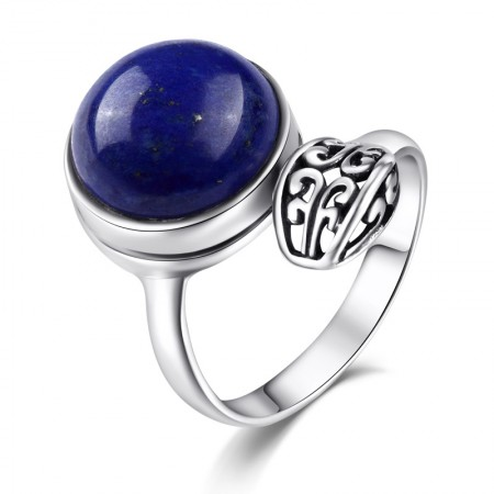 New Hot Sale 925 Sterling Silver Inlaid Natural Lapis Lazuli Opening Ring