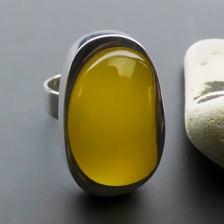 Contracted Fashion Exaggerated 925 Sterling Silver Inlaid Natural Yellow Onyx Ring