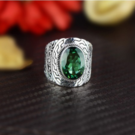 Stylish Atmosphere Hollow Carved S925 Silver Inlaid Stone Wide Ring
