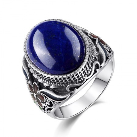 Exaggeration Atmosphere 925 Sterling Silver Inlaid Natural Lapis Lazuli Ring