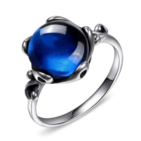 925 Sterling Silver Inlaid Round Gem Retro New Ring