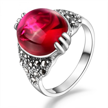 925 Sterling Silver Inlaid Garnet Red Corundum New Retro Ring