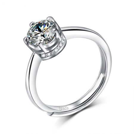 Beautiful 925 Silver Inlay Bright Shining Cubic Zirconia Crown Opening Engagement Ring