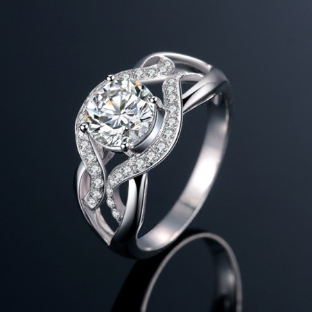 925 Sterling Silver Four Paws Firmly Weave Elegant Arc Of Engagement Ring