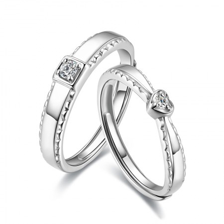 Korean Version Of The S925 Silver Men Square Woman Heart-Shaped Couple Rings