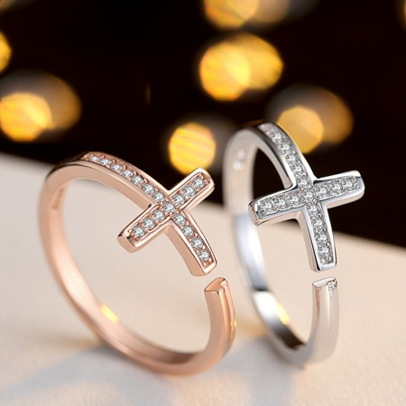 Simple Creative Cross S925 Silver Plating Rose Gold Couple Rings