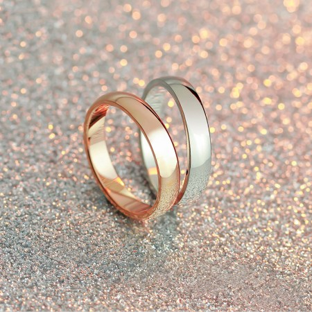 Korean Fashion Glossy Titanium Steel Rose Gold Plated Couple Rings