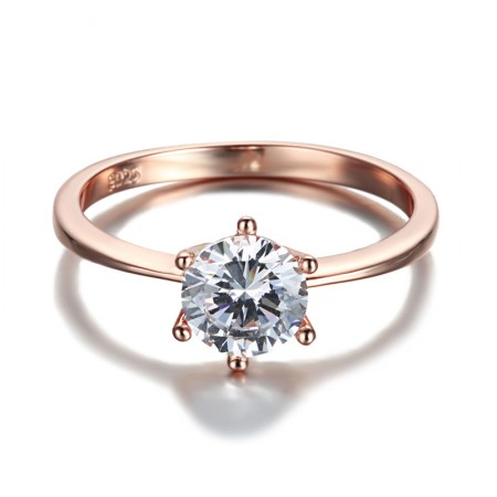 925 Silver Plated Fashion Rose Gold Inlaid Cubic Zirconia Engagement Ring