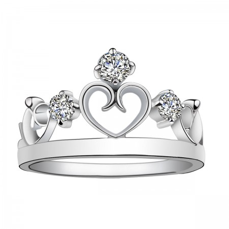 Contracted Classic Crown Molding 925 Silver Inlay CZ Engagement Ring