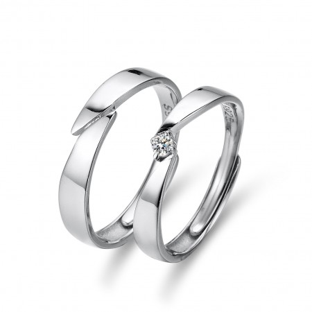 Korean Version Of The Simple 925 Silver Adjustable Open Couple Rings