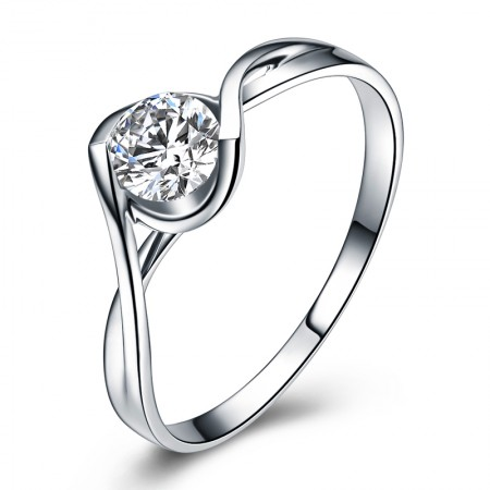 Kiss Of Angels 925 Sterling Silver Delicate Process Plated 18K White Gold Engagement Ring
