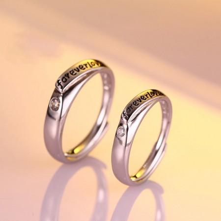 "Korean ""Forever Love"" 925 Silver Plated 18K White Gold Opening Couple Rings"