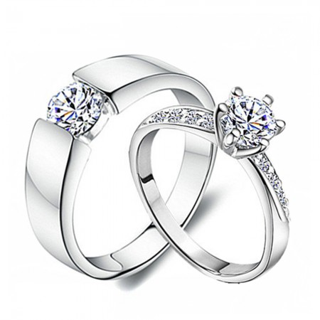 Beautiful And Romantic 925 Silver Inlaid Cubic Zirconia Wedding Rings