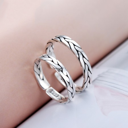 Simple Fine Workmanship s999 Fine Silver Hand-Woven Couple Opening Rings