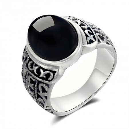 Retro Atmosphere 925 Sterling Silver Inlaid Black Onyx Men's Ring