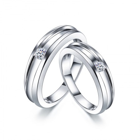 Anti-Oxidation And Wear-Resistant Platinum Plated 925 Sterling Silver Couple Rings