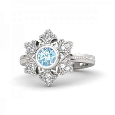 Pure Romantic S925 Silver Inlaid Natural Sapphire Engagement Ring