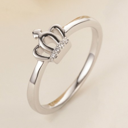 Exquisite Carving Simple 925 Silver Crown Engagement Ring
