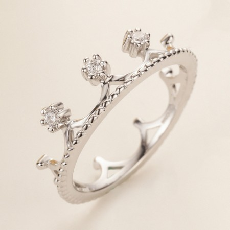 925 Silver Inlaid Cubic Zirconia Princess Crown Engagement Ring