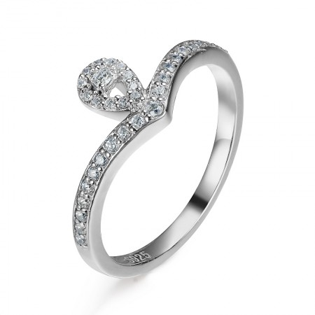 S925 Silver Inlaid Cubic Zirconia Teardrop-Shaped Crown Engagement Ring