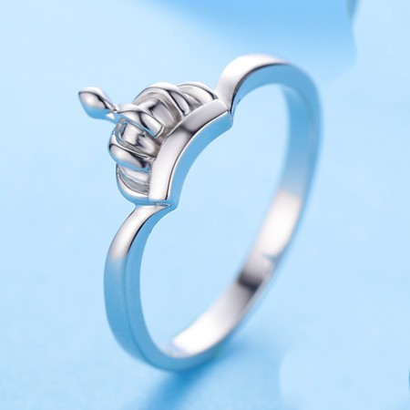 Simple Low-Key Fashion 925 Silver Princess Crown Ring