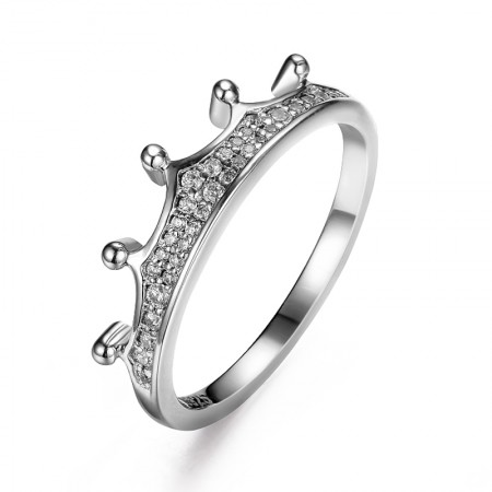 Bright Gorgeous Sky 925 Silver Inlaid Cubic Zirconia Crown Engagement Ring