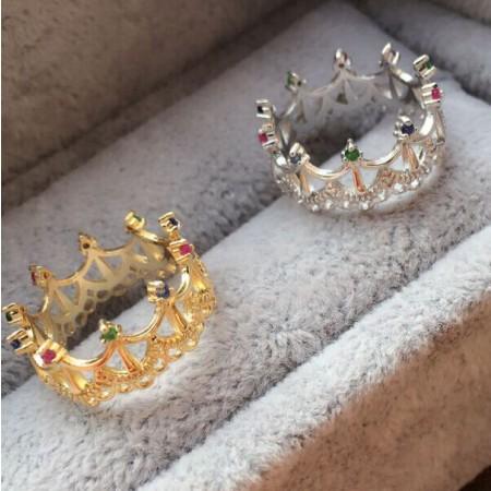 Creative Hollow Natural Silver Inlaid Gemstone Princess Crown Ring