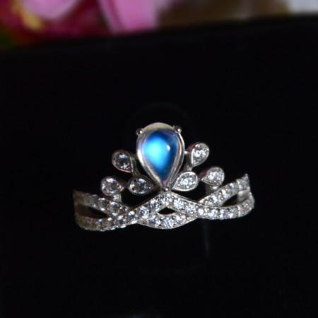 Elegant Exclusive Original 925 Sterling Silver Inlaid Moonstone Crown Ring