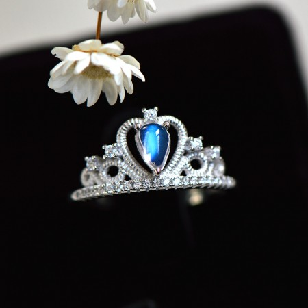 Quality Assurance Noble Vintage 925 Sterling Silver Inlaid Moonstone Princess Crown Ring