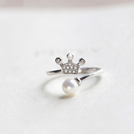 Fashion Style S925 Silver Inlaid Gemstone And Pearl Opening Crown Ring