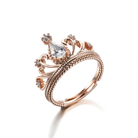 Fashion Popular Accessories High Quality Alloy Plated 18K Rose Gold Crown Ring