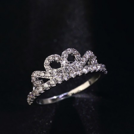 Hypo-Allergenic Personality 925 Silver Inlaid Cubic Zirconia Crown Ring