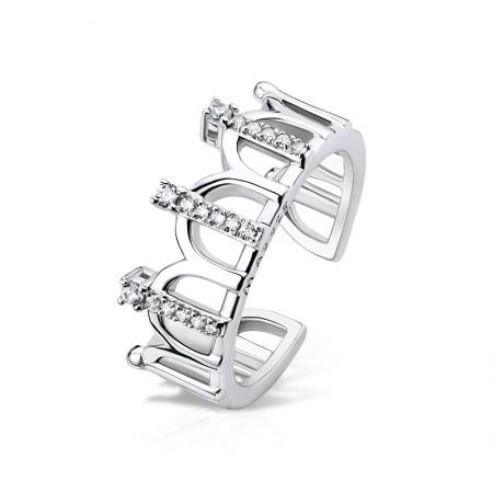 Exquisite Mosaics 925 Silver Platinum Plated Retro Crown Ring
