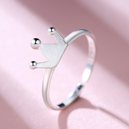 925 Silver Compact Simple Matte Opening Crown Ring