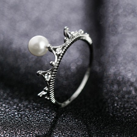 S925 Silver Inlay Freshwater Pearls Retro Temperament Crown Ring