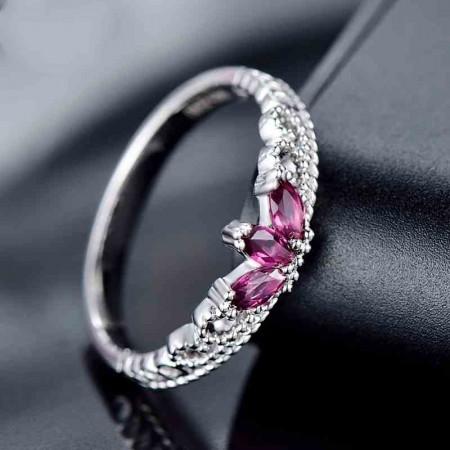 Exquisite Workmanship 925 Silver Inlay Natural Gemstone Crown Ring
