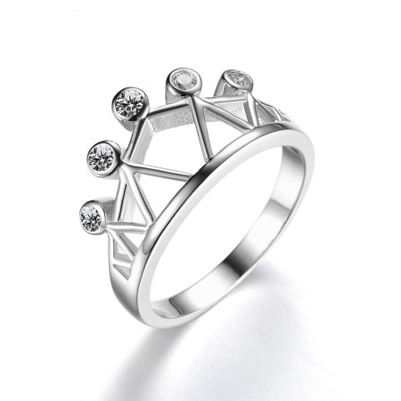 Creative Hollow Grid S925 Silver Inlay Cubic Zirconia Crown Ring