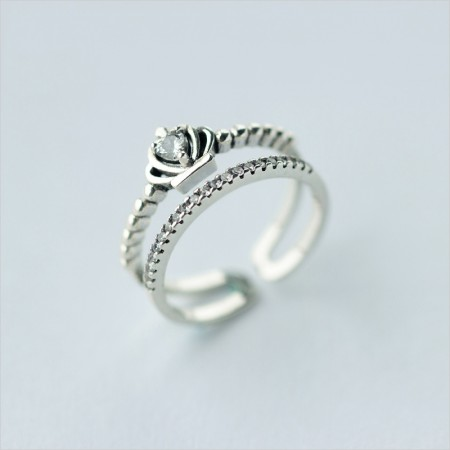 Quality Assurance Retro Trend 925 Silver Double Sets Opening Crown Ring