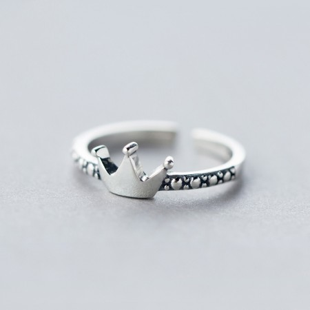 Fashion Sweet Lady Temperament 925 Silver Classic Crown Ring