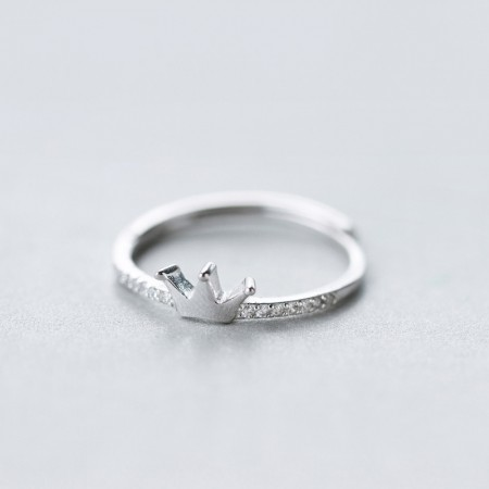 925 Silver Fashion Personality Inlaid Cubic Zirconia Crown Ring